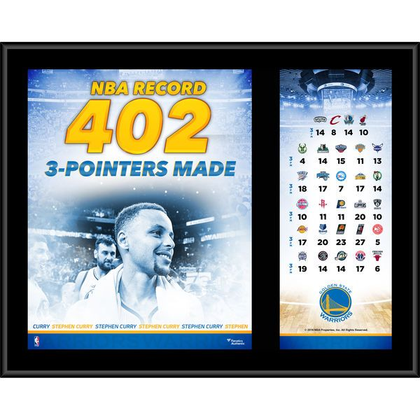 "Stephen Curry Golden State Warriors Fanatics Authentic 12"" x 15"" NBA Record 402 3 Pointers Made Sublimated Plaque - $29.99"