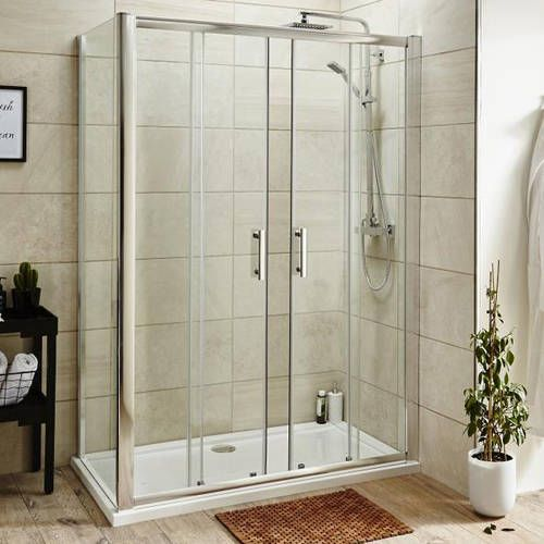 Pacific 1600x900mm rectangular shower enclosure with 1600mm double sliding doors in chrome. Now in stock at Taps4Less £368