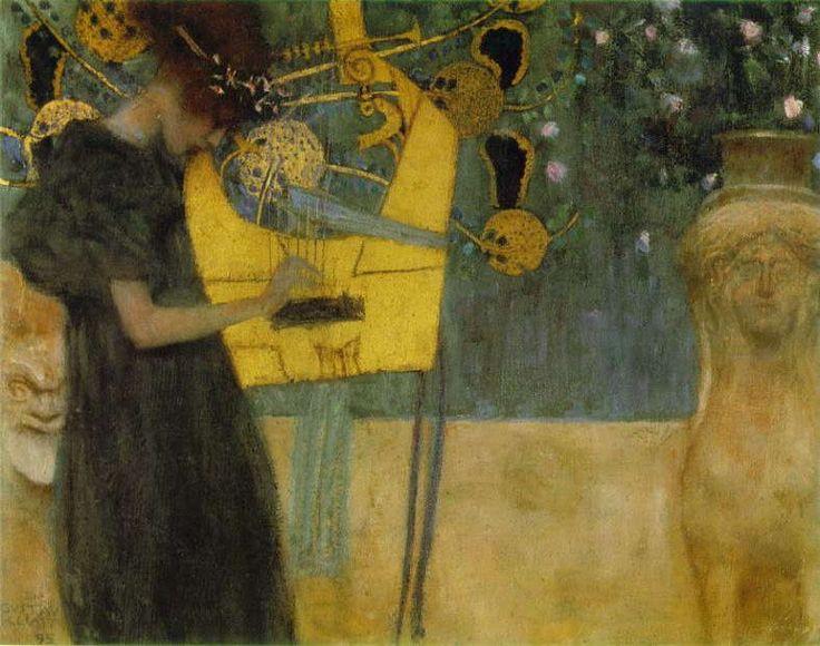 クリムト 「 音楽Ⅰ 」 1895 、Oil on canvas、37 x 45 cm 、ミュンヘン、ノイエ・ピナコテーク