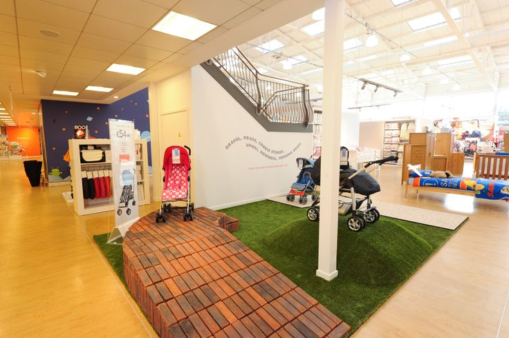 Retail Design Mothercare pram testing area. Try before you buy. #Edmonton #mothercare #pram #buggy #pushchair