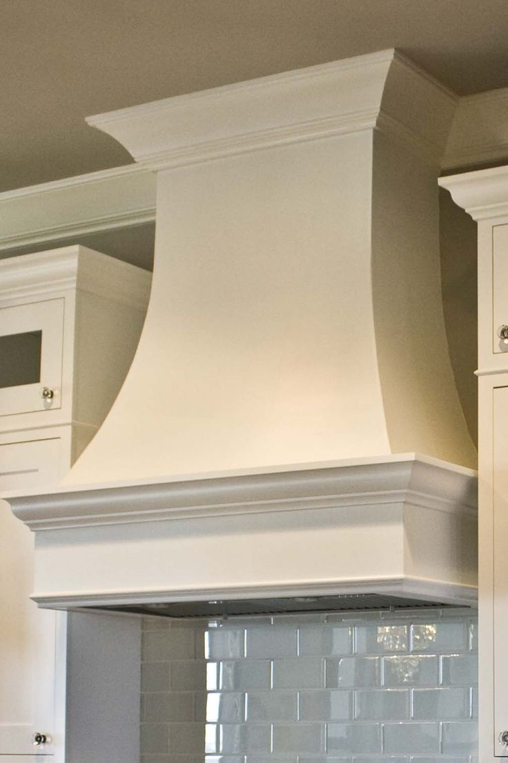 5 custom curved drywall range hood it was painted to match the cabinetry