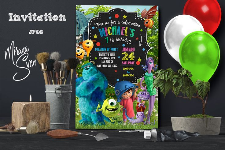 Monsters Inc Invitation, Monsters Inc Birthday Invitation, Monsters Inc, Sully and Mike, Personalized, Picture, Photo, Printables by MiranaSven on Etsy