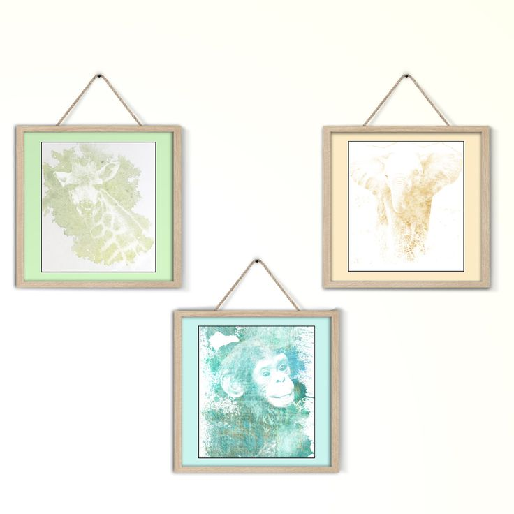 Set stampe effetto acquerello - animali della savana, scimmia, giraffa ed elefante - per camere per bambini - stampabili a colori di GoldenPepita su Etsy