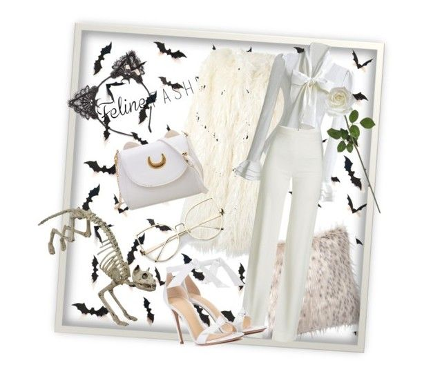 """White kitty"" by bernadett-soos on Polyvore featuring PBteen, True Craft, DKNY, Brandon Maxwell and Alexandre Birman"