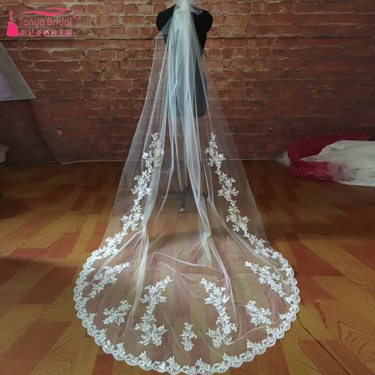 Find More Bridal Veils Information about 2M Length Tulle Bridal Veils Lace Appliques Elegant simple Bridal Wedding Accessories Wedding Veils  Z763,High Quality veil lace,China veil hat Suppliers, Cheap veil flower from Tanya Bridal Store on Aliexpress.com