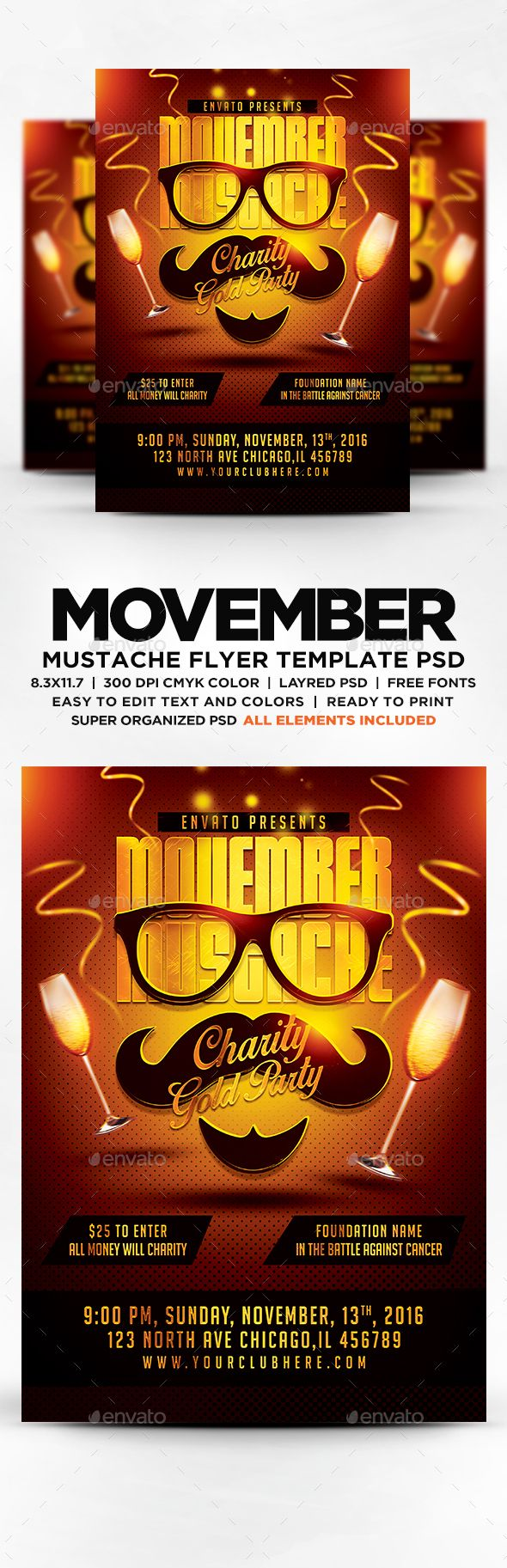Movember Mustache Gold Charity Party Flyer