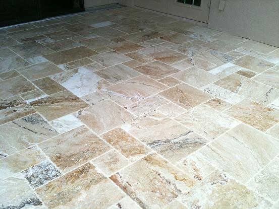Exterior tiled deck lanai with leonardo light travertine for Lanai flooring options