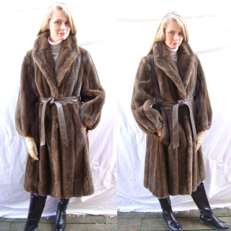 Vintage Faux Fur Coat Long Fur Coat Country Pacer Brown