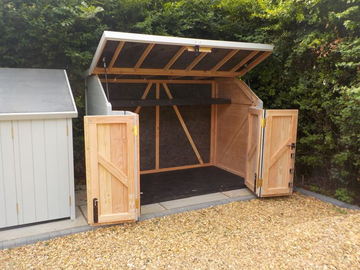 Optional bi-fold doors available with sheds, great for space saving