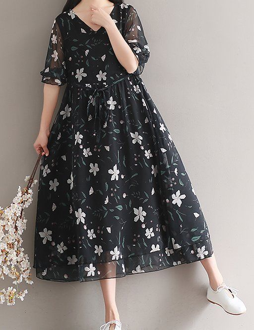 Women loose fitting over plus size retro flower chiffon dress long maxi tunic #Unbranded #dress #Casual
