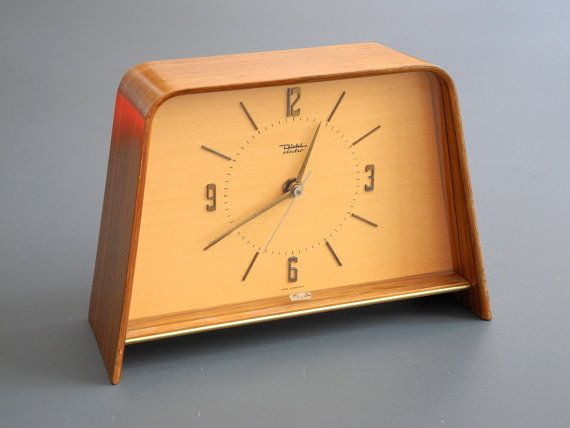 Beautiful large very rare original 50s Diehl table clock with curved teak plywood enclosure. Like new condition, unused