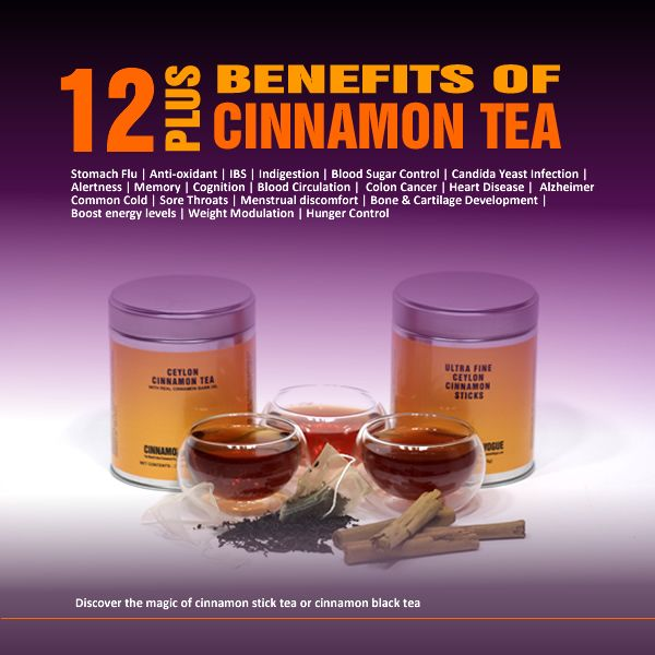 Discover the 12 benefits of cinnamon tea made with real cinnamon bark oil and pure Ceylon black tea for Candida, diabetes, stomach flu and more.