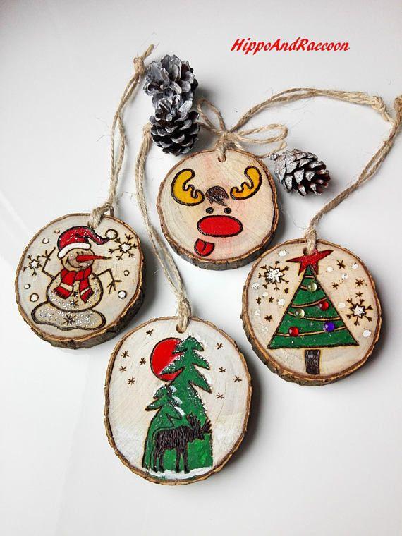 Christmas ornaments Christmas tree decor Wood slice