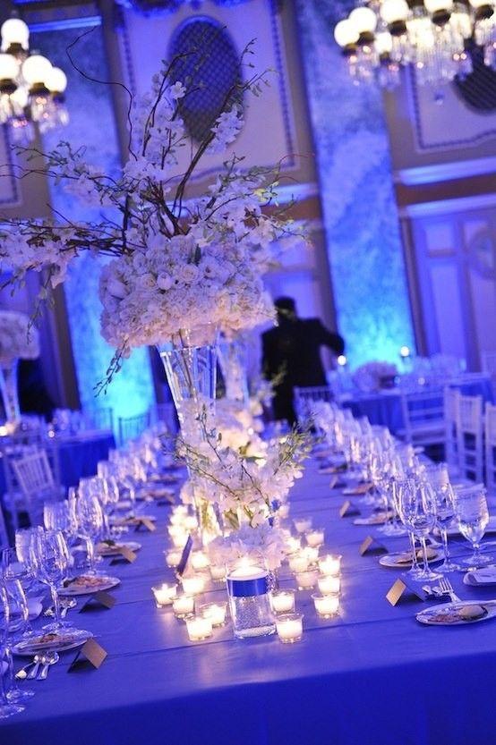 Enchanting Winter Wedding Ideas, Blue Home Decoration In Winter Wedding  Www.loveitsomuch.com
