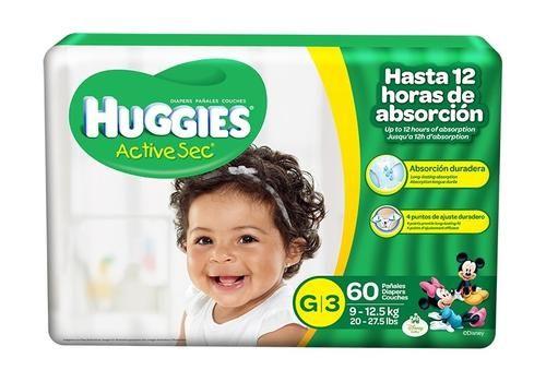 Huggies Active Sec G/S3 Maxi Proteccion Duradera 60 unidades.