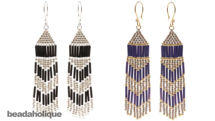 How to Make Brick Stitch and Fringe Beaded Earrings--I never saw her beading; but this is how it's done.