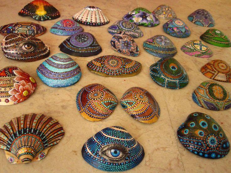 Hand painted shells. From Jaba.