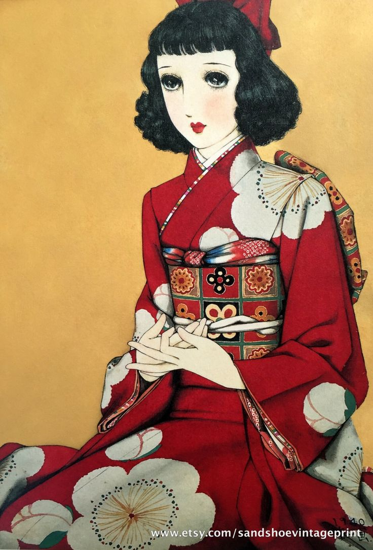 1960s JUNICHI NAKAHARA Big Eyed Girl in KIMONO with Poppy Motif Print Perfect for Framing by sandshoevintageprint on Etsy