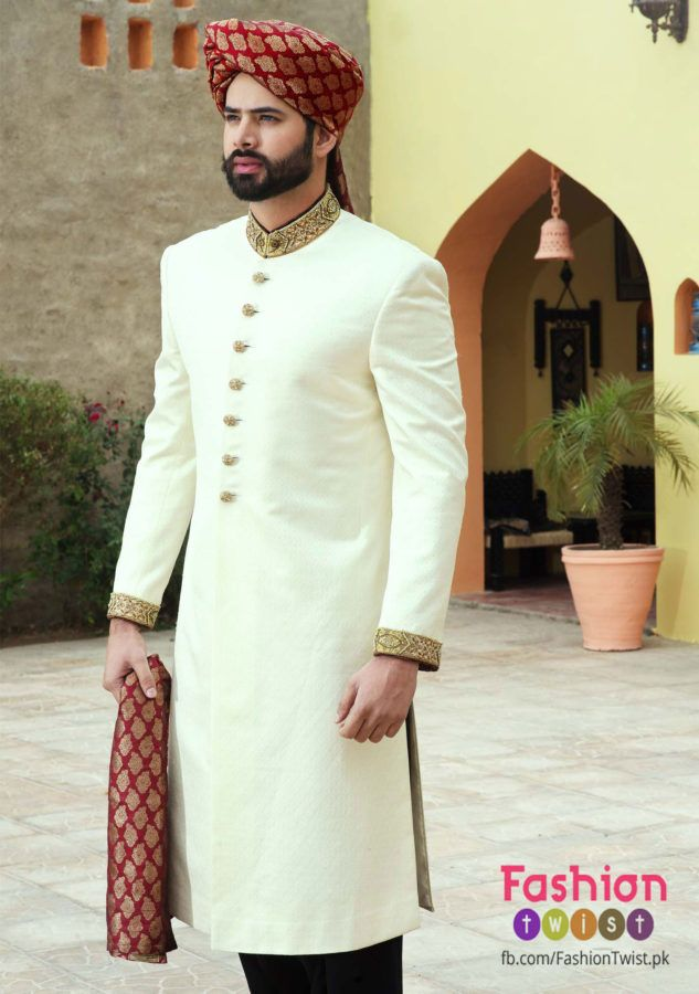 Amir Adnan White And Red Best Sherwani Designs 2016 Groom Sherwani
