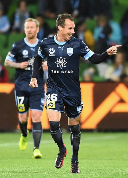 Luke Wilkshire Photos - Luke Wilkshire of Sydney FC celebrates scoring a goal during the round five A-League match between Melbourne City FC and Sydney FC at AAMI Park on November 3, 2017 in Melbourne, Australia. - A-League Rd 5 - Melbourne v Sydney