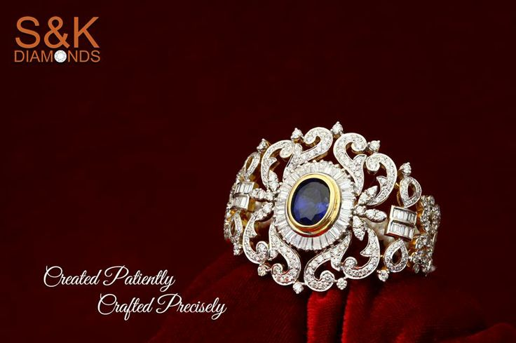 Grand and gracious!! The exclusive finger ring by S&K Diamonds is a stunner of its own kind. Decked sparkling diamonds and precious blue stone, the enchanting finger ring will give you an everlasting charm.