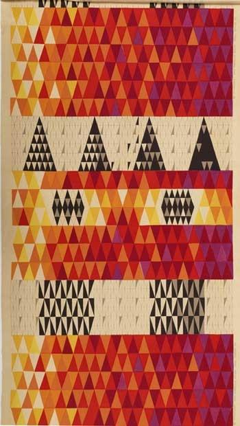 [][][] Sven Markelius for Knoll Textiles. Pythagoras. Introduced 1953. Linen and cotton, screen-printed