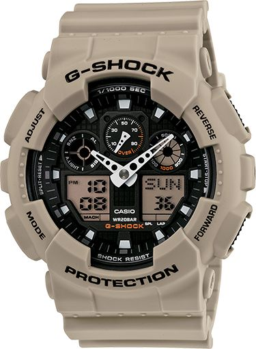"""The GA100 series is Big and Guy. 51mm : G-Shock offers multiple watches in """"Military Sand."""" : GA100SD-8A"""
