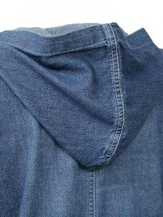 Vintage Women Brief Single Breasted Pocket Hooded Denim Jacket at Banggood