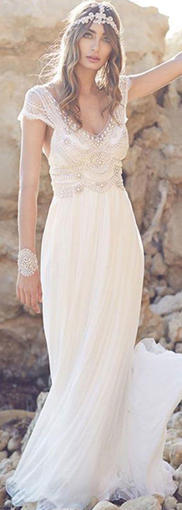 Gorgeous Silk-like Chiffon V-neck Neckline A-line Wedding Dresses With Beadings