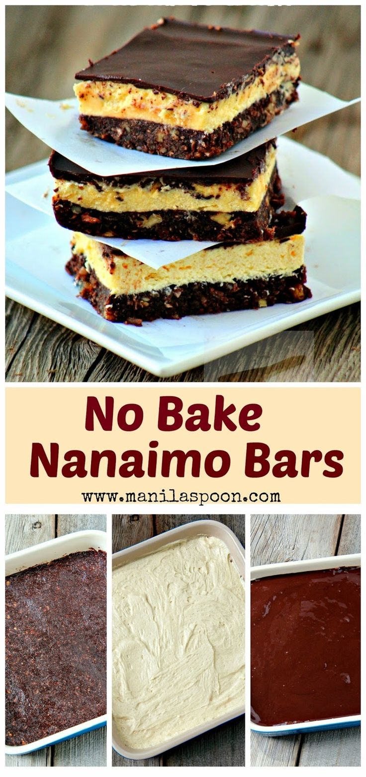 A bottom crust with nuts, cocoa and coconut, a middle layer of creamy vanilla custard filling and then melted and chilled chocolate on top! This is a GLUTEN-FREE version of the Canadian classic sweet treat - Nanaimo Bars. Freezable.