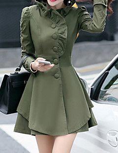 Vrouwen+Vintage+Winter+Trenchcoat,Grote+matenLange+mouw+Roze+/+Groen+/+Geel+Effen+Dik+Overige+–+EUR+€+28.41