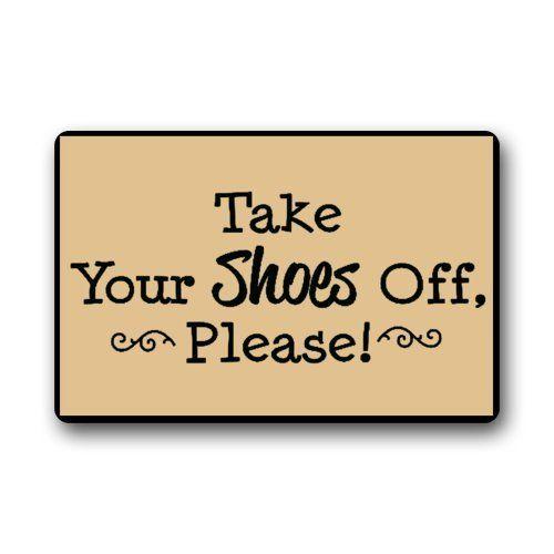 """Custom Machine-washable Door Mat Please take your shoes off Indoor/Outdoor Doormat 23.6""""(L) x 15.7""""(W)"""