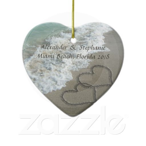Romantic Hearts on the Beach Christmas Ornament