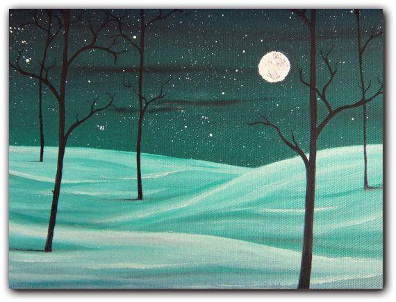 Orignal Winter Landscape Painting Whimsical Art by BingArt on Etsy, $39.95