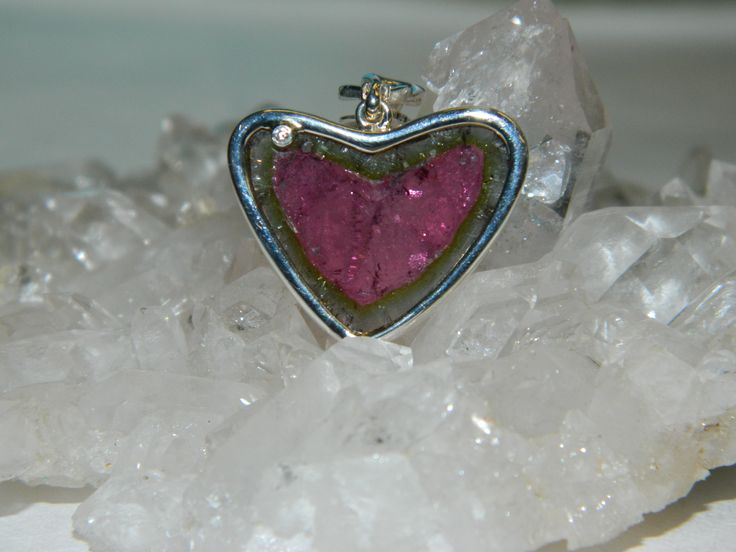 Natural Watermelom Tourmoline, set in sterling silver with a diamond accent