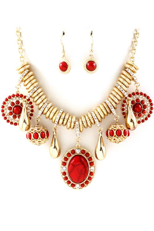 Red Coral Capri Necklace Set | Awesome Selection of Chic Fashion Jewelry | Emma Stine Limited
