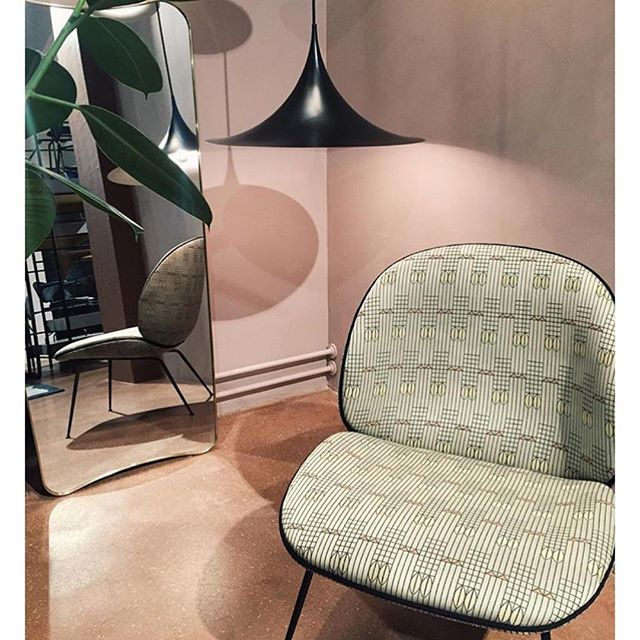 GUBI // FA 33 Mirror by Gio Ponti, Semi Pendant by Bonerup & Thurup and Beetle Lounge Chair by GamFratesi
