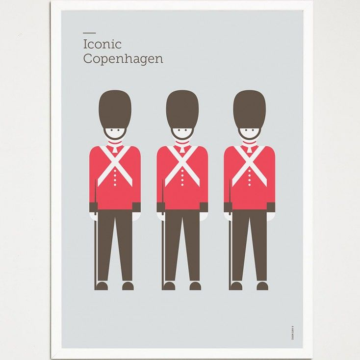 Iconic Copenhagen Poster - Guards. From Hus & Hem.   Just one of the must see attractions for anyone visiting the beautiful city of Copenhagen is the changing of the guard.  This daily event takes place at 12.00 noon at Amalienborg. The Royal Guard, called Den Kongelige Livgarde, march from their barracks in Gothersgade 100 by Rosenborg Castle through the streets of Copenhagen and end up at Amalienborg, the home of the Danish royal family.