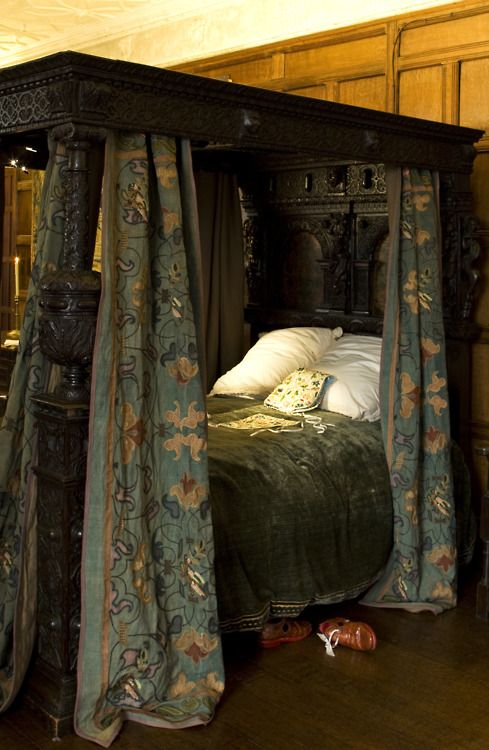 Gorgeous bed curtains on lavish,dark wood, antique bed.  Could never live with it this dark, so would have lighter bedding and some soft light under the canopy, plus a couple of Peacock Blue accent pillows.
