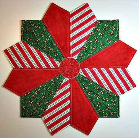 quilted table topper christmas table mat dresden plate table topper candy cane topper