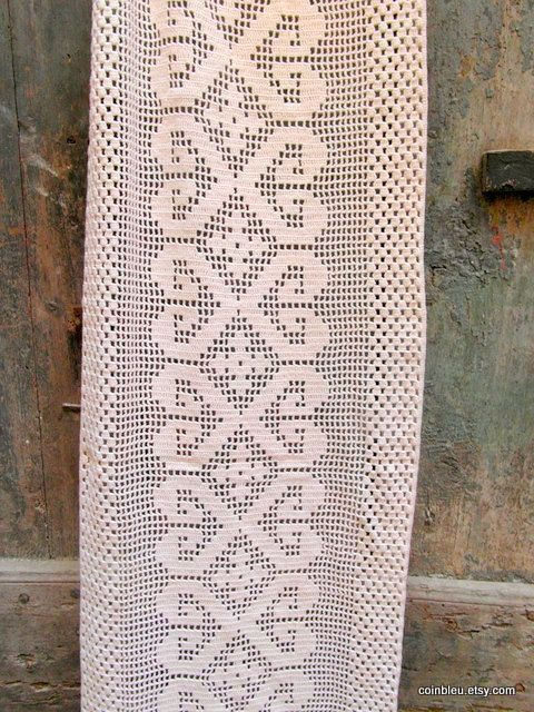 Very long Crochet lace curtain table runner. by frenchvintagedream, $45.00