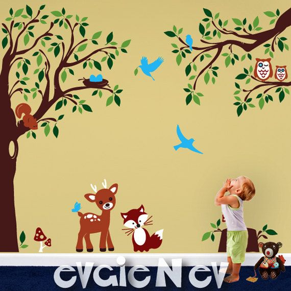 Baby Nursery Woodland Large Wall Decal   Deer Fox Squirrels Owls In The  Wood Wall Stickers Part 37