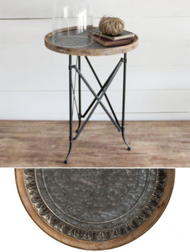 Vintage Style Wood And Metal Round Side Table Round Metal Side