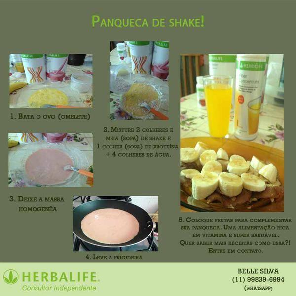 Receita de Panqueca de Shake #herbalife. Foco no #desafiovip90dias