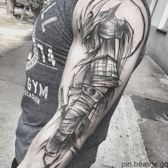 Tatouage De Combattant T Shirt Gris Homme Casque Masque Tatoeage Ideeen Japanse Tatoeages Mouwtatoeages