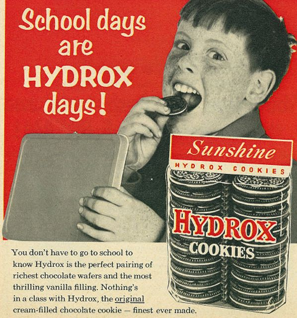 1957 Food Ad, Sunshine Hydrox Cookies.  NEVER:  Oreos only!