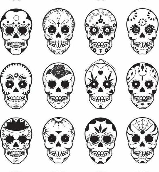 gratis mallar mönster brodera tips måla inspiration mexikanska döskallar