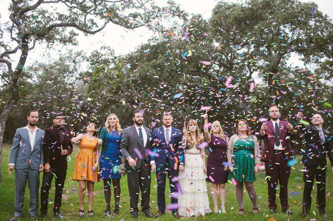 confetti wedding party shot by Kat Bevel