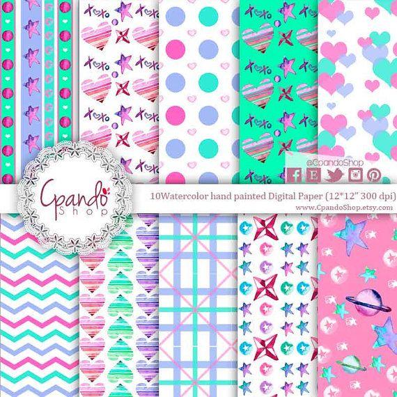 VALENTINES Digital Paper: Pink Mint Purple Valentines Printable Pattern Print, Valentines Download, Valentines Backgrounds Scrapbook