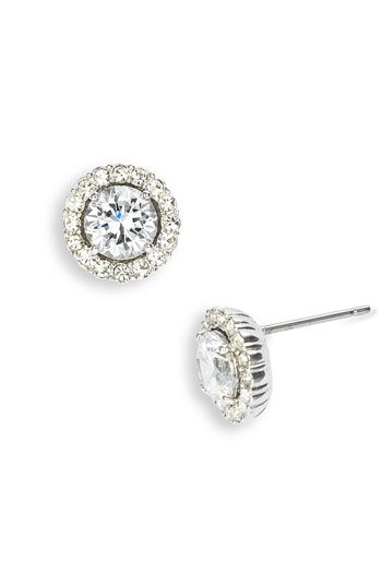 Nadri Round Cubic Zirconia Stud Earrings | Nordstrom. Real diamond earrings are